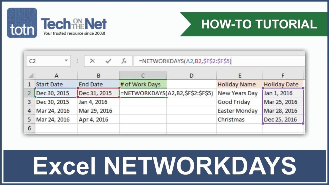 ms excel: how to use the networkdays function (ws)
