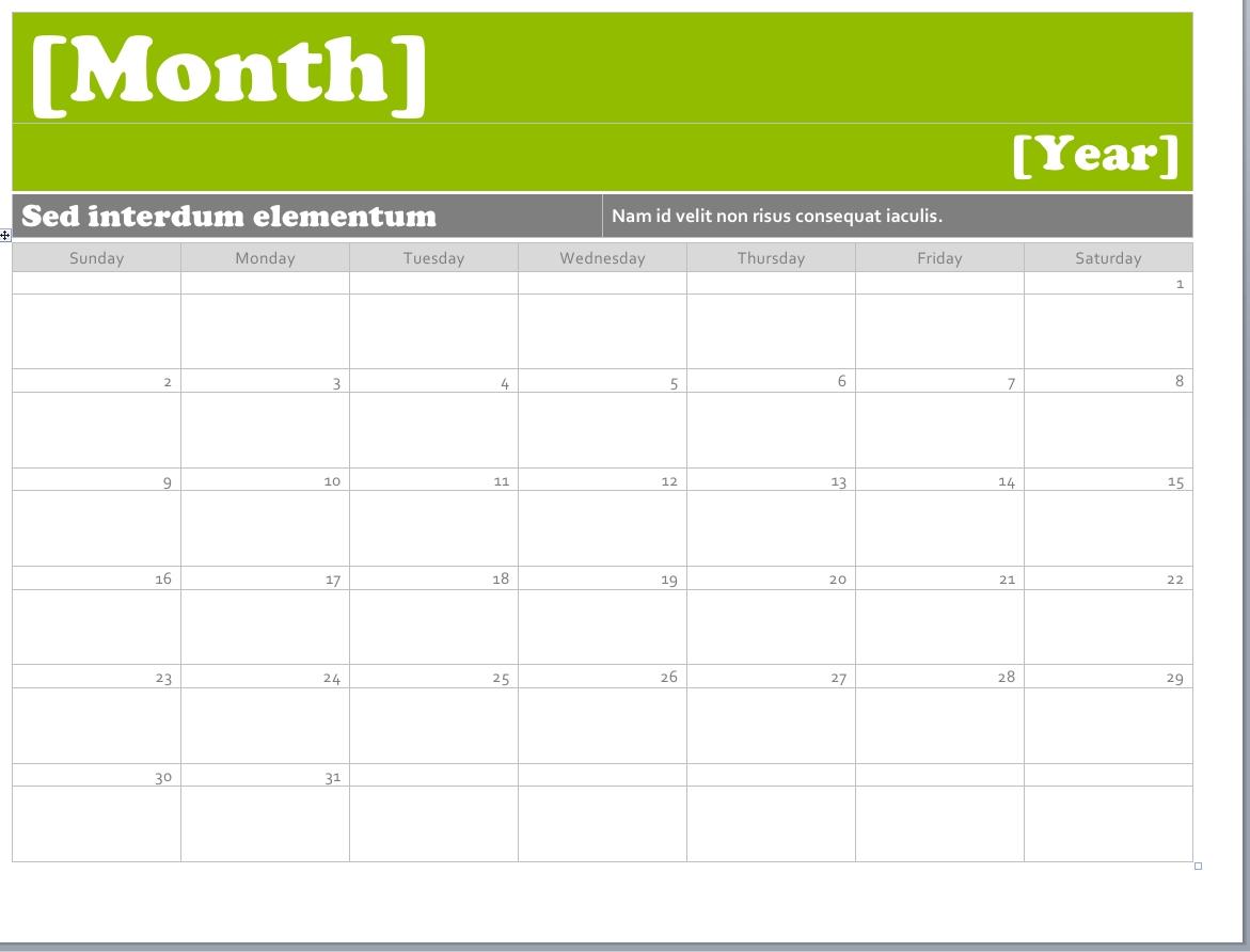Ms Word Calendar Templates • Printable Calendar Template
