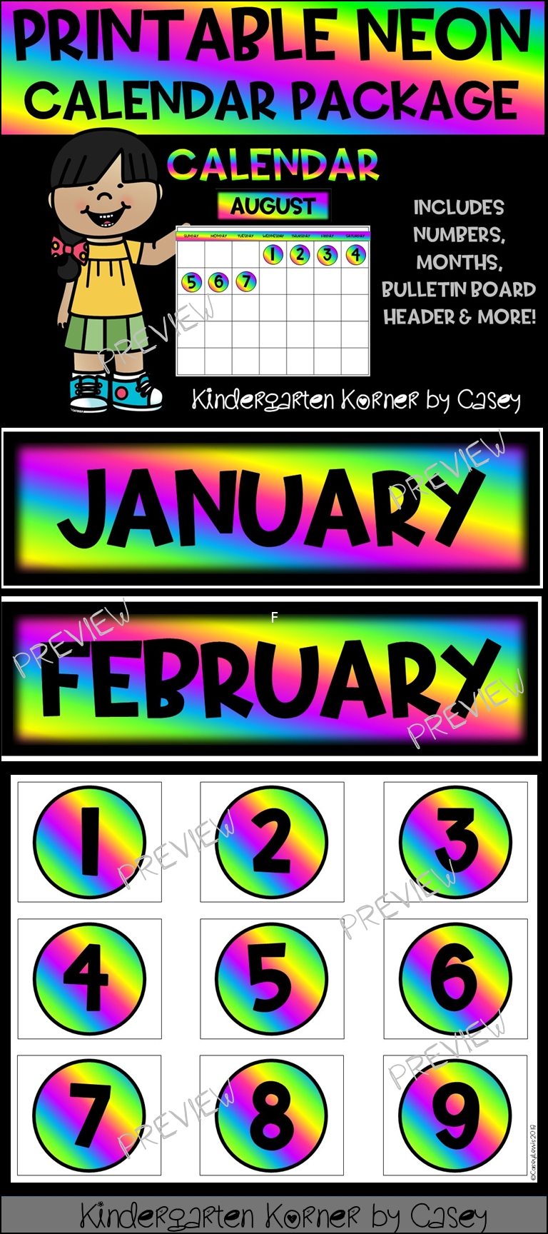 Neon Printable Calendar Set Months Numbers 1 To 31 Bulletin