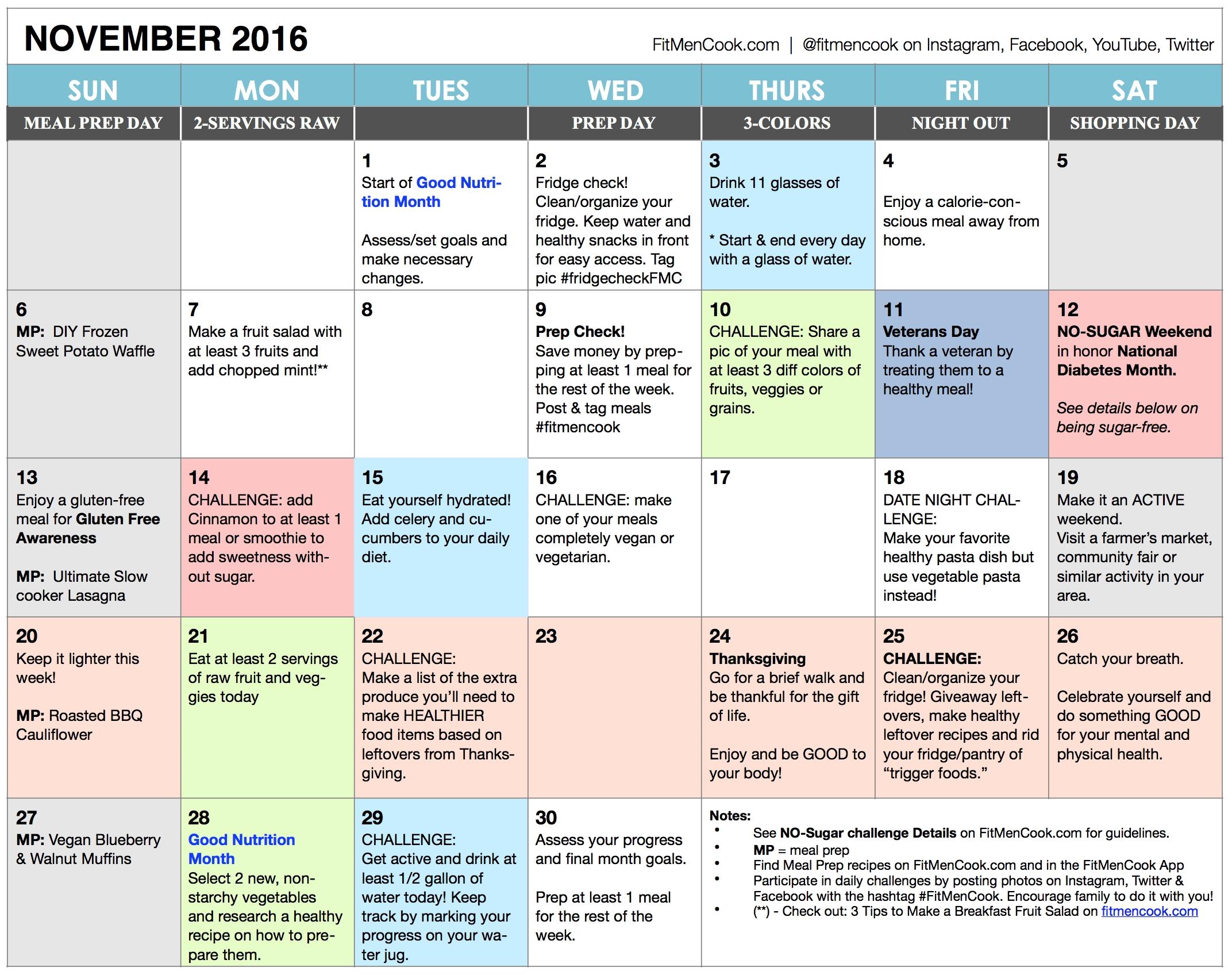 november 2016 healthy habits calendar