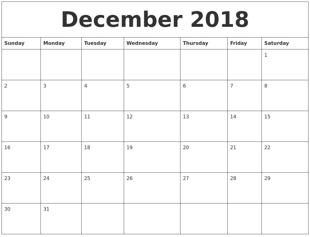 november 2018 calendar with holidays usa — free december