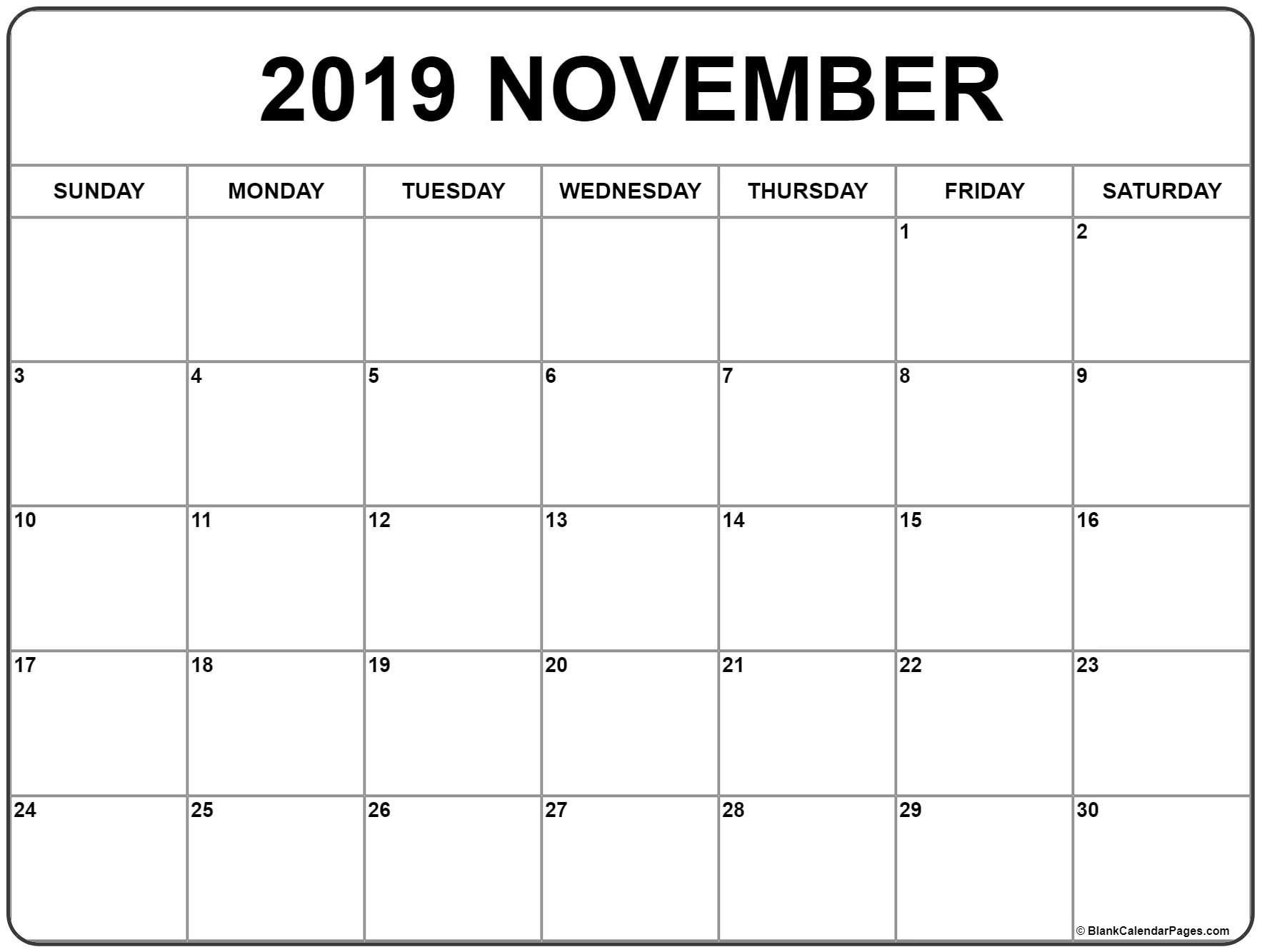 November 2019 Calendar | Monthly Calendar Printable