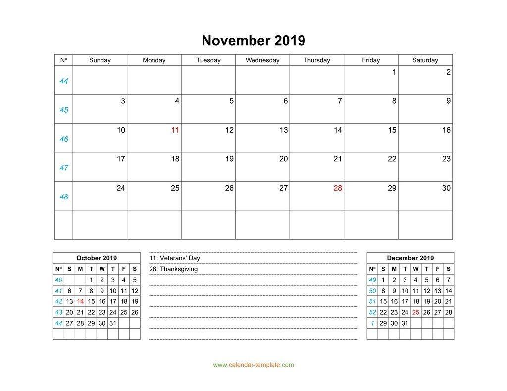 november 2019 calendar with previous and next month (bottom)