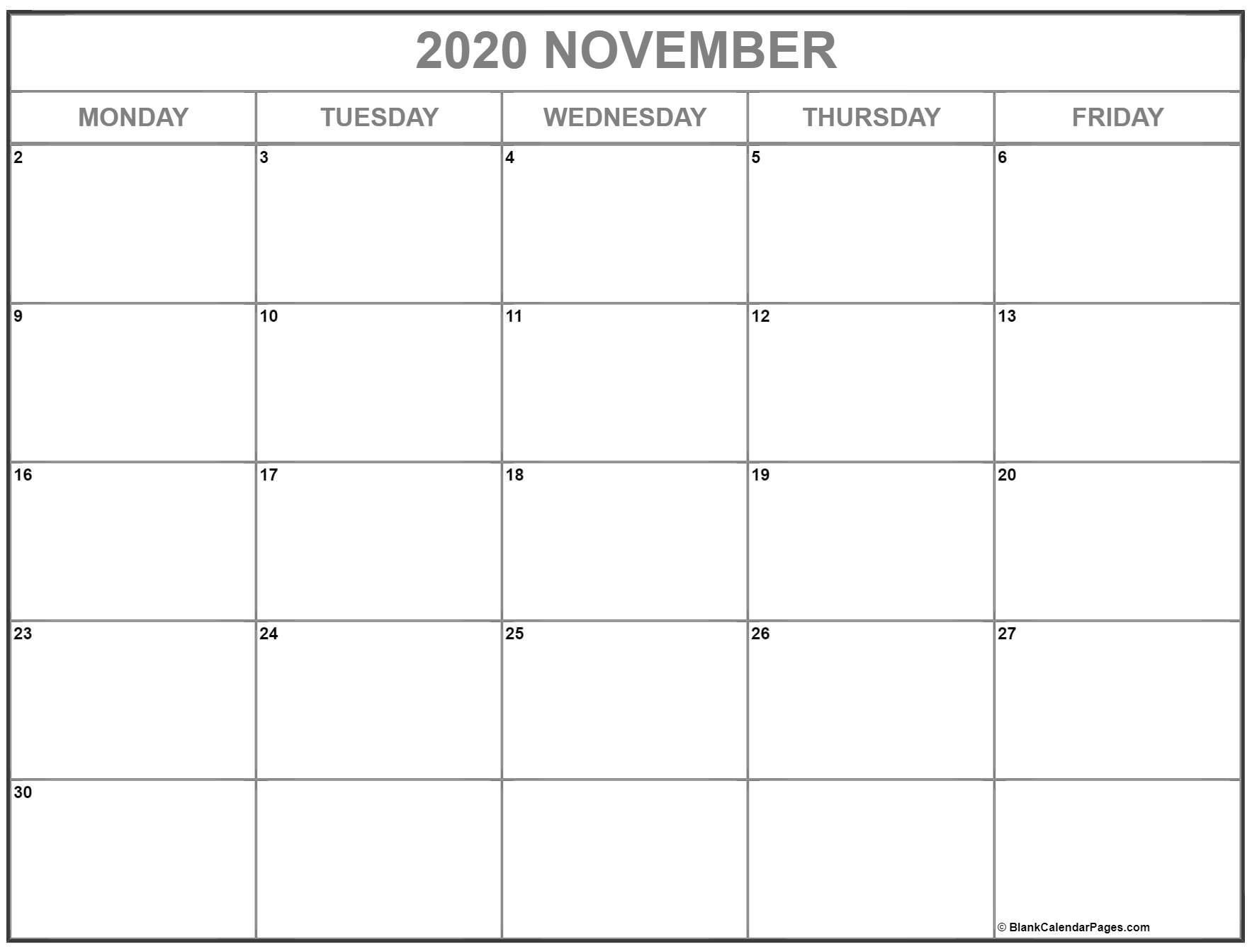 november 2020 monday calendar | monday to sunday