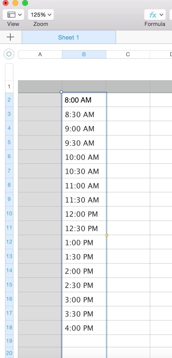 numbers: how do i create a column with a sequence of times