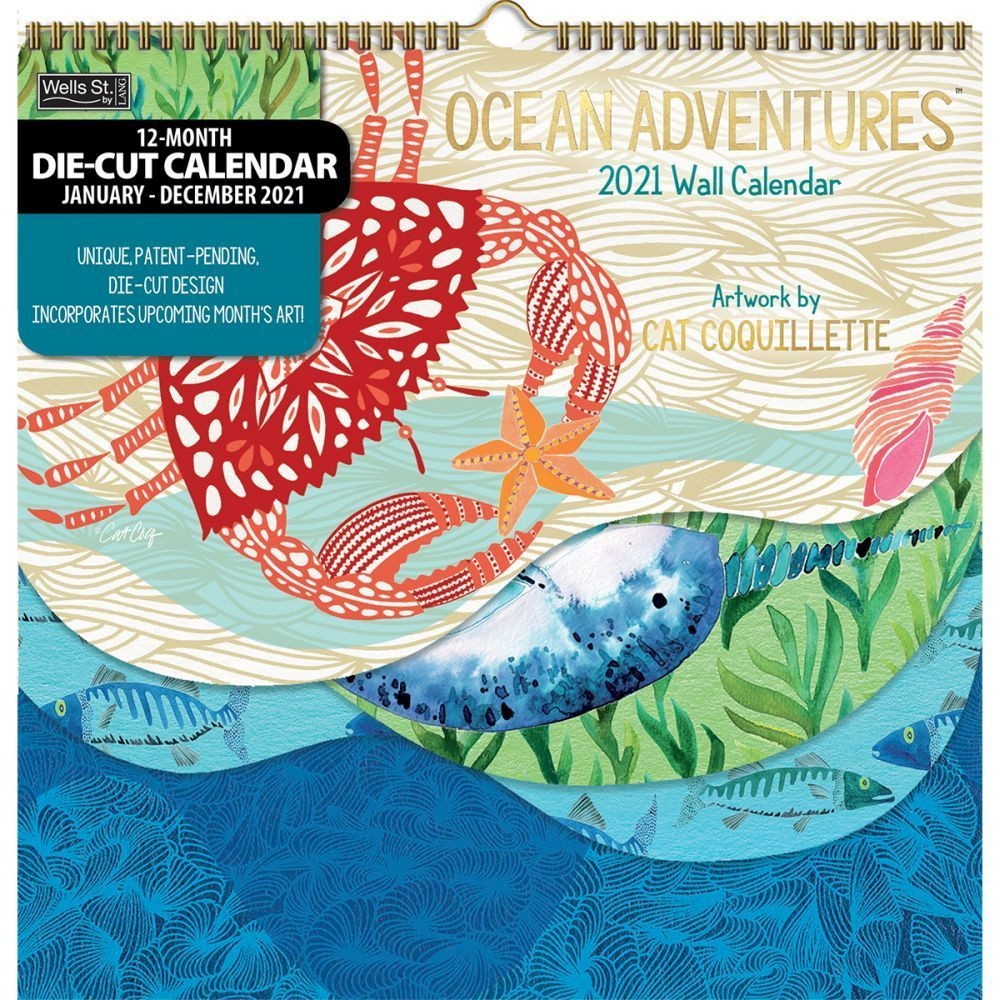Ocean Adventures Die Cut Wall Calendarcat Coquillette Walmart