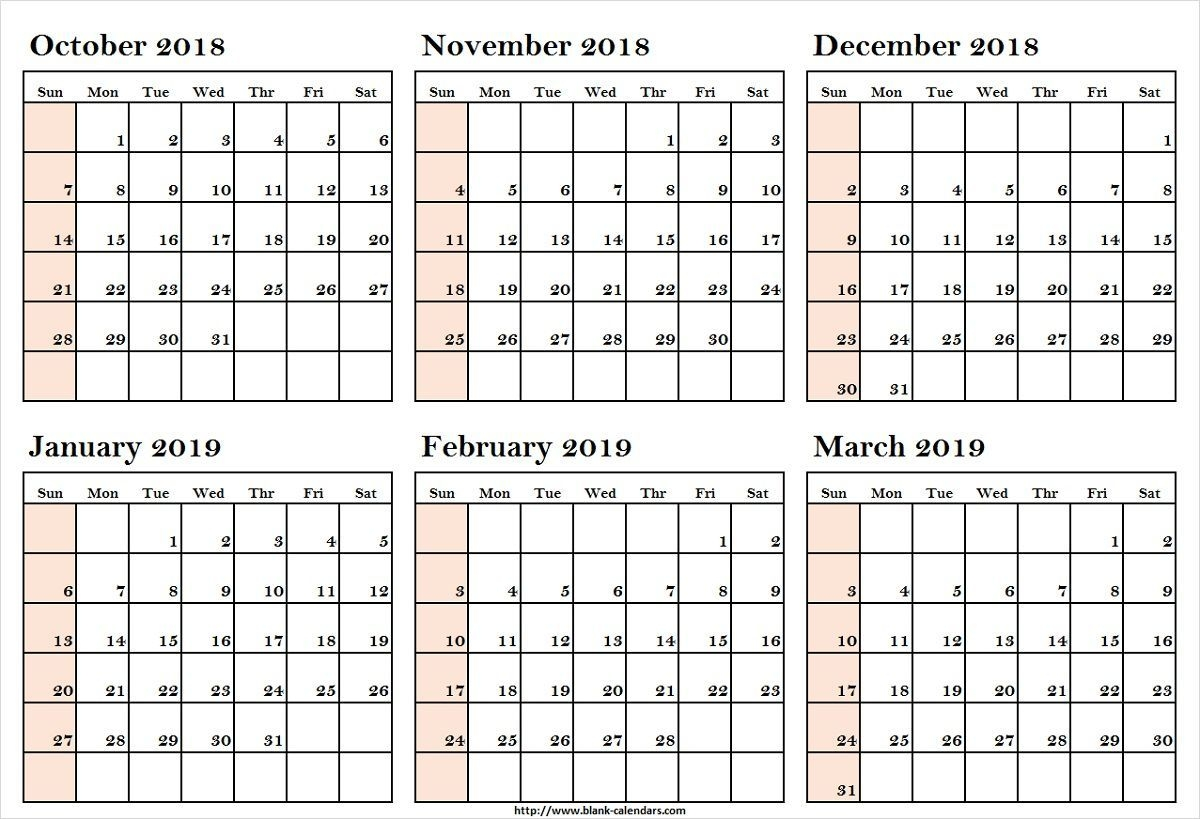 october 2018 to march 2019 calendar printableoctober 2018 to