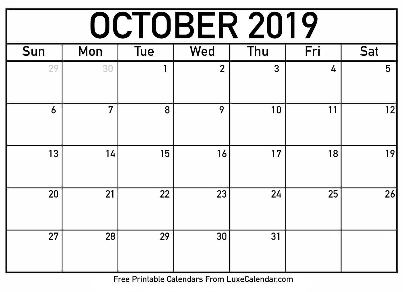 october 2019 calendar printable | calendar printables