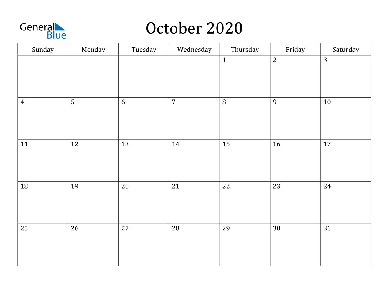 October 2020 Calendar Pdf Word Excel