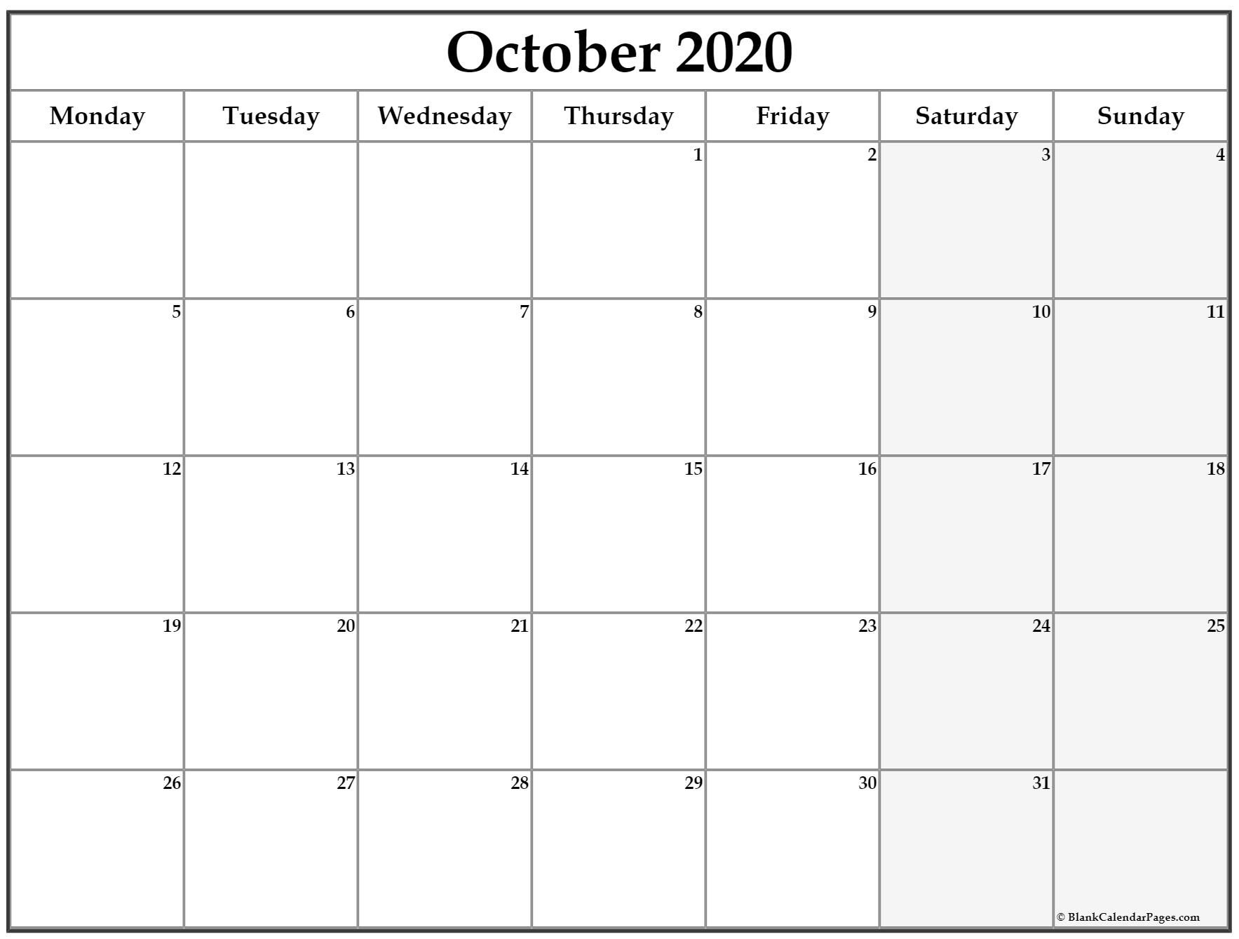 october 2020 monday calendar | monday to sunday
