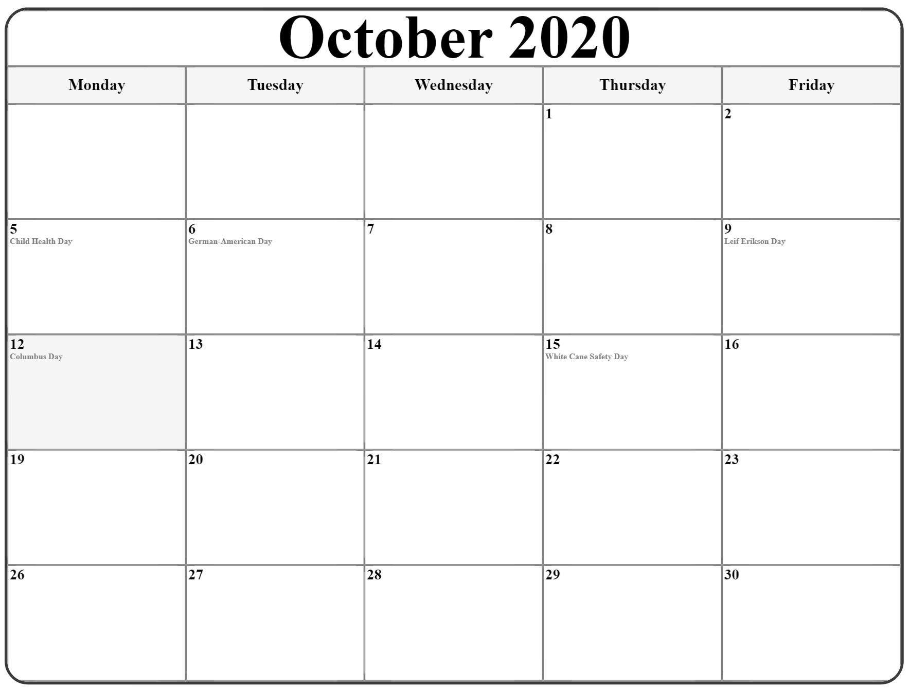 October 2020 Monday Calendar | Monday To Sunday