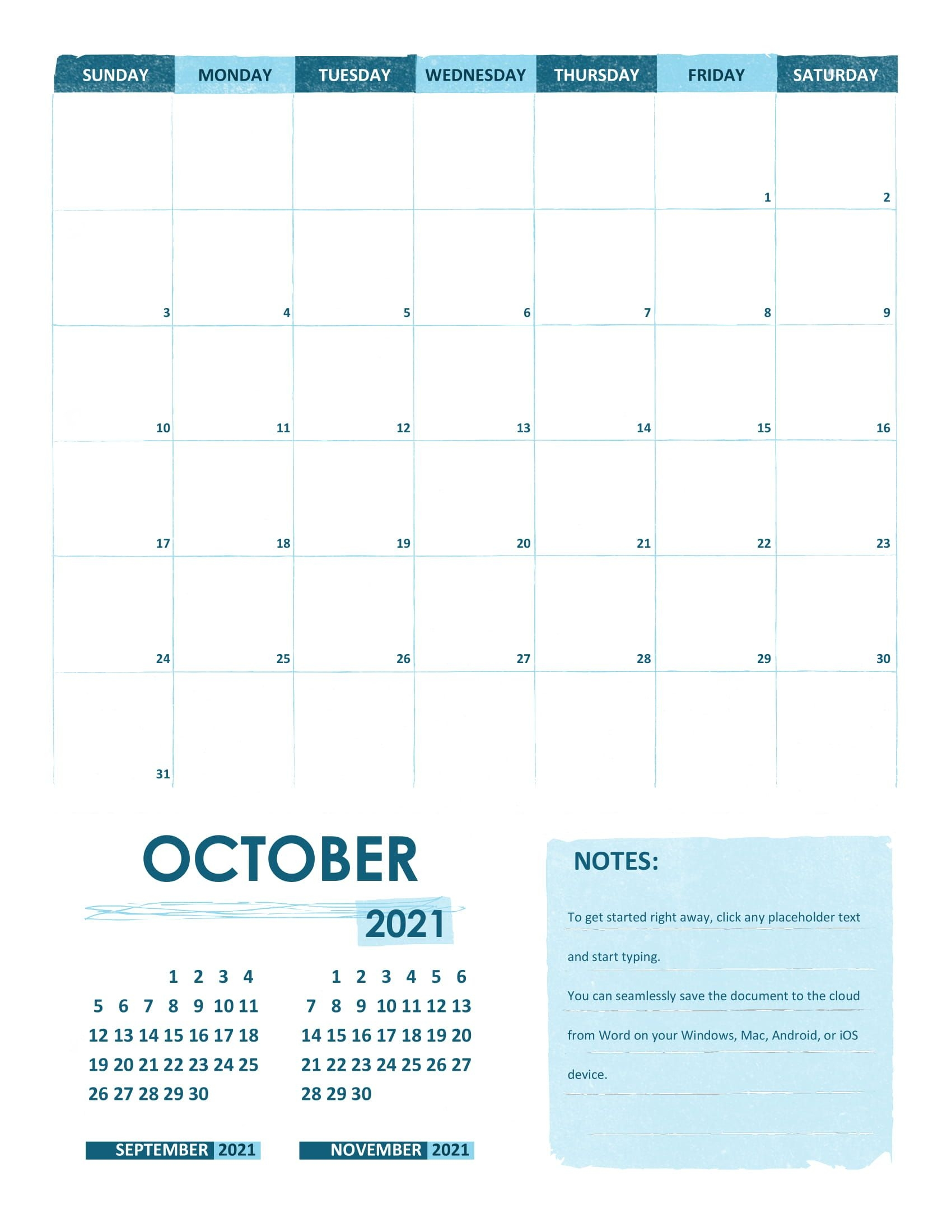 October 2021 Calendar Template Printable Calendar Template