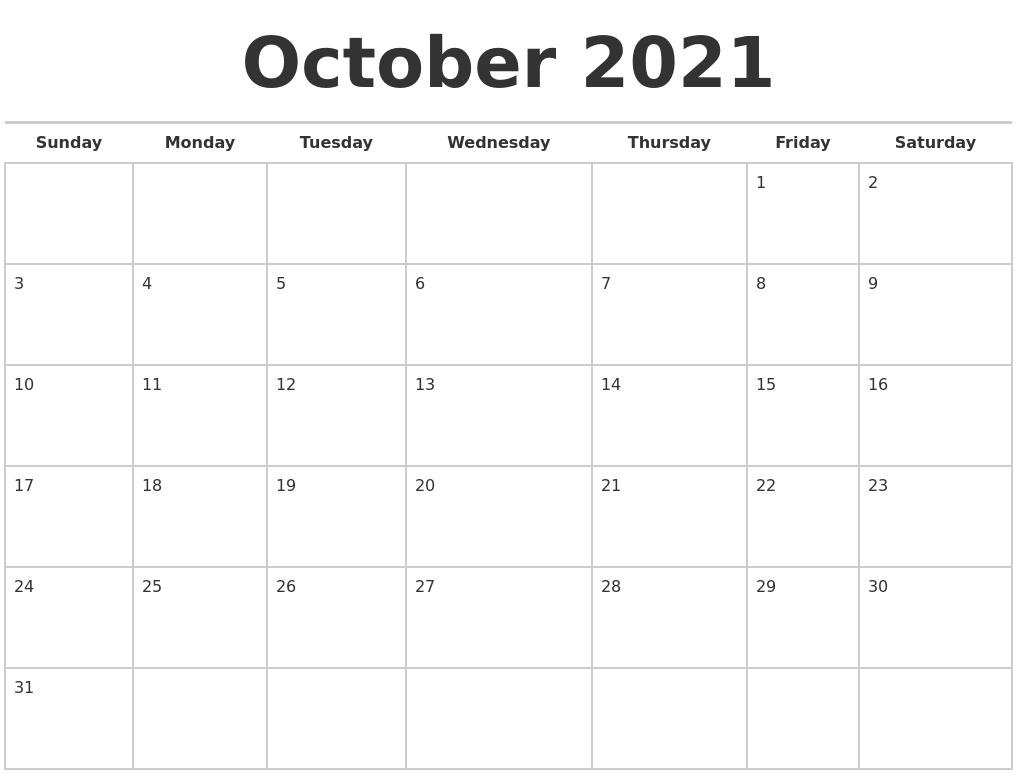 october 2021 calendars free