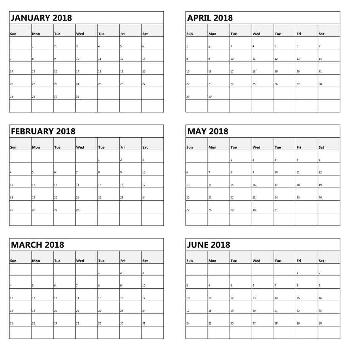 One Page 6 Month Calendar 2018 | Calendar Printables