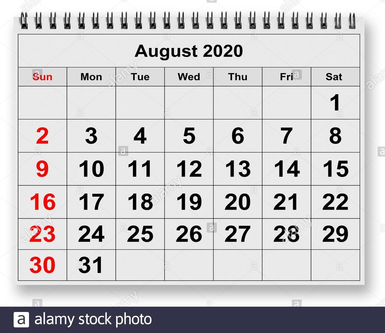 one page of the annual monthly calendar month august 2020