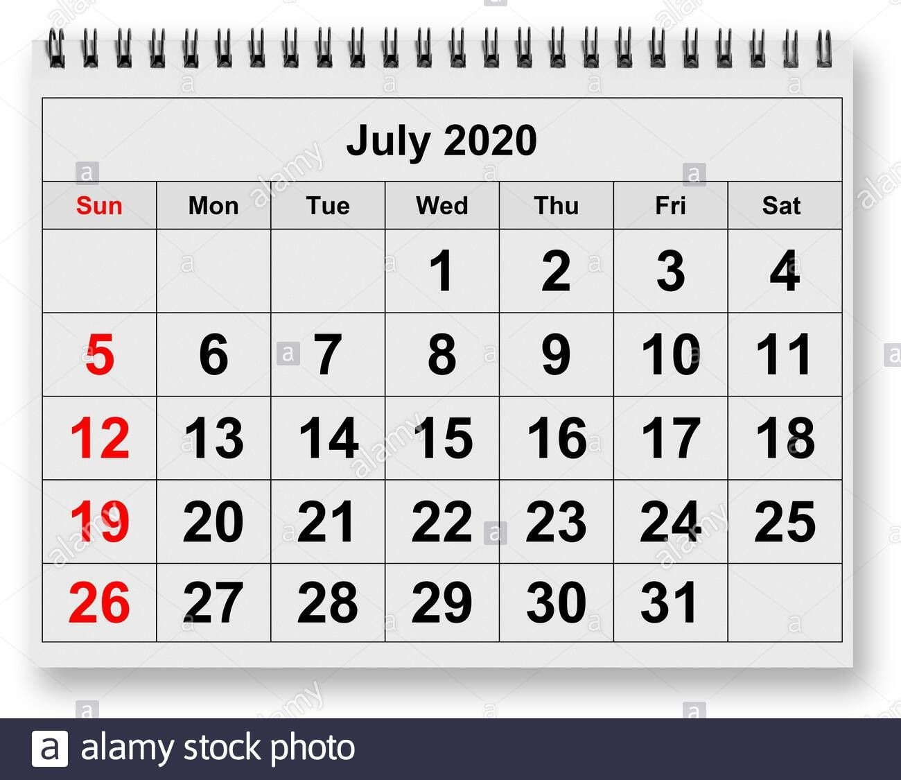 One Page Of The Annual Monthly Calendar Month July 2020