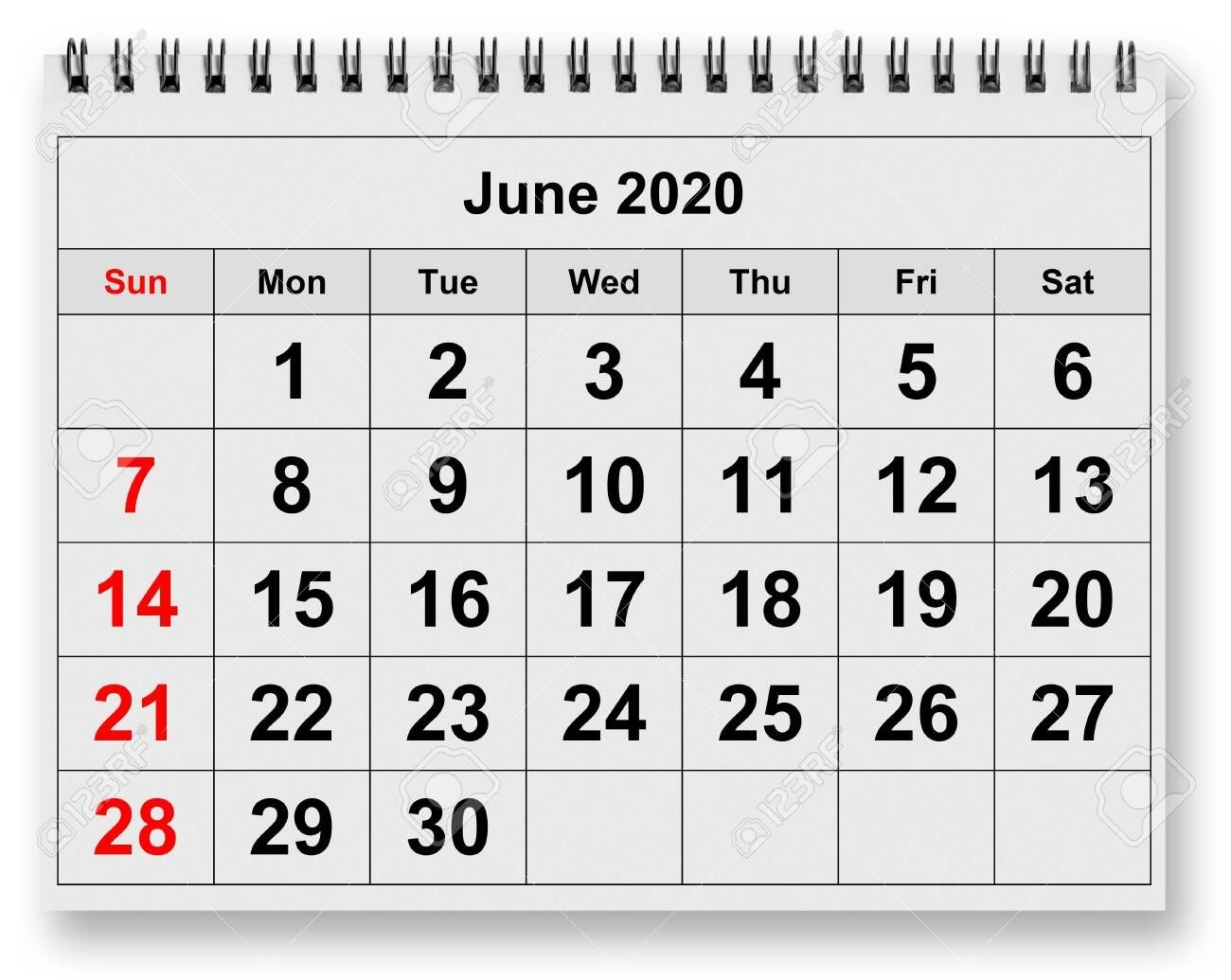 One Page Of The Annual Monthly Calendar Month June 2020