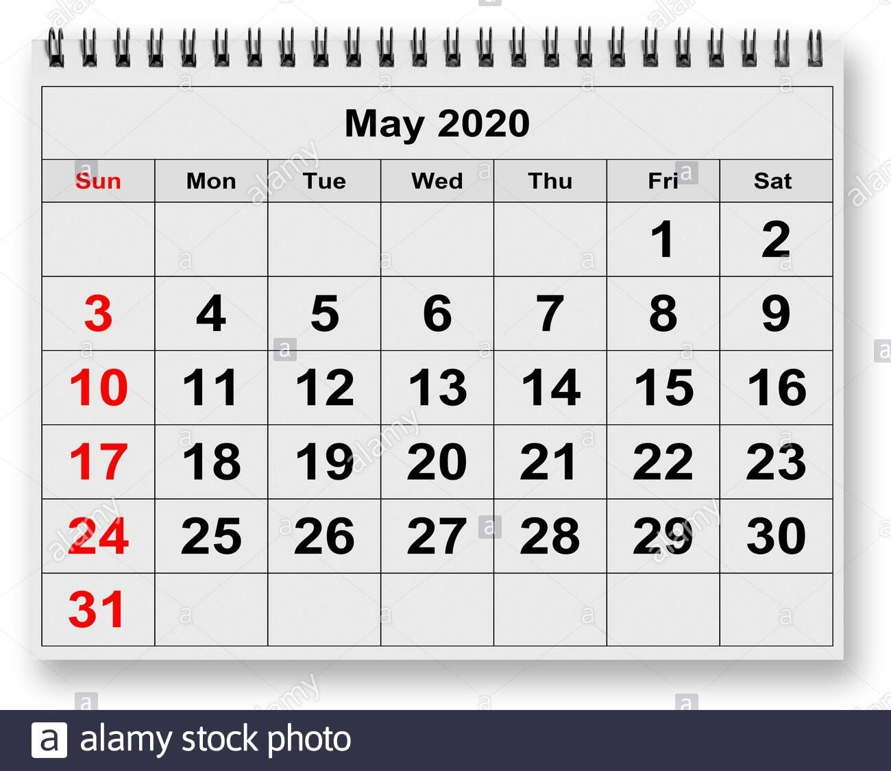 one page of the annual monthly calendar month may 2020
