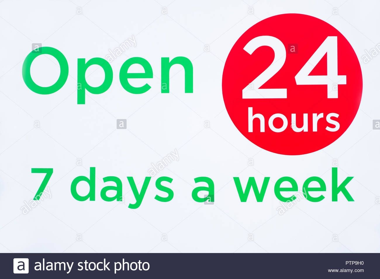 Open 24 Hours 7 Days A Week Round Circle Sign Red And Green