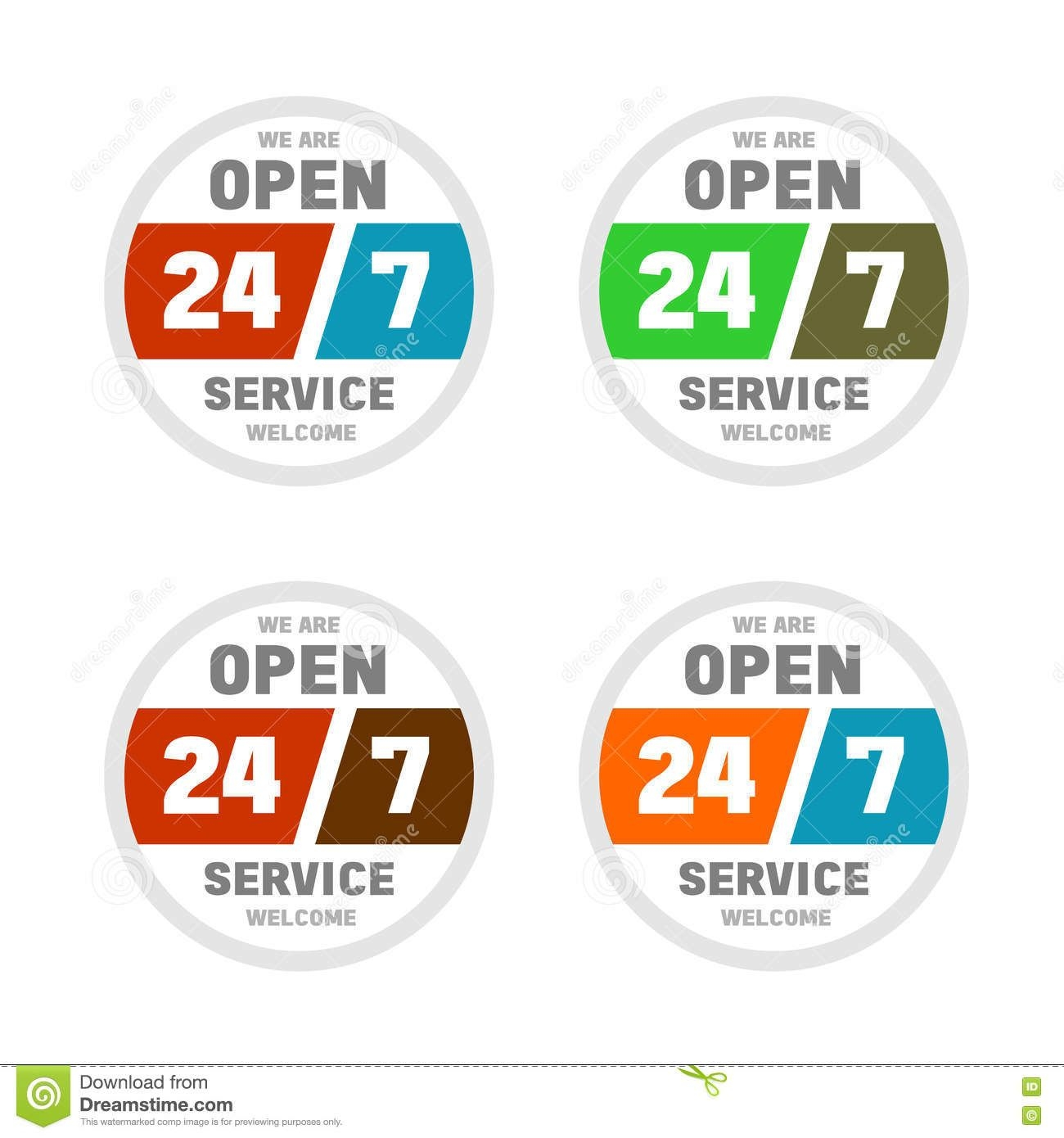 open 24 hours a day and 7 days week stock vector