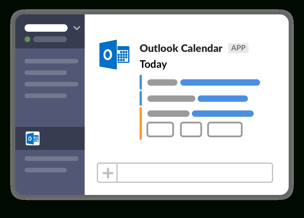 outlook calendar app | slack