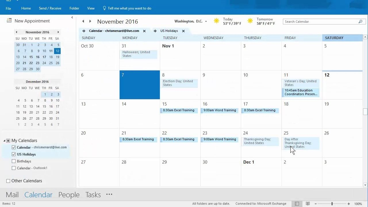 outlook calendar priniting assistant 11/12/2016 troubleshooting chris menard