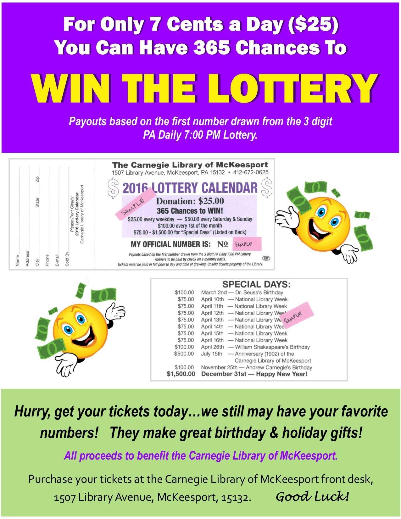 pa lottery calendar fundraiser