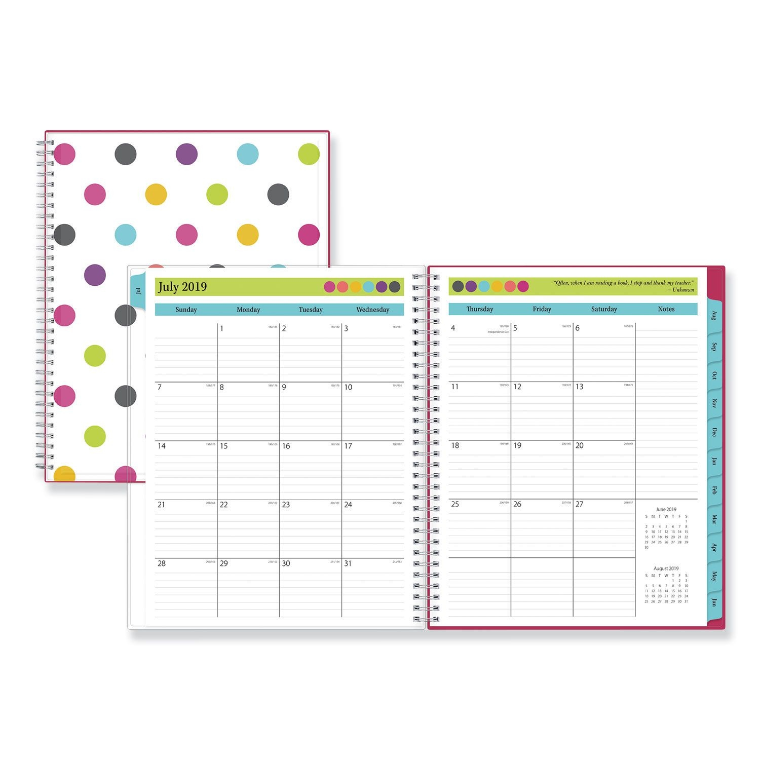 Pink 2019 2020 Monthly Planner Calendar In Protective Sleeve