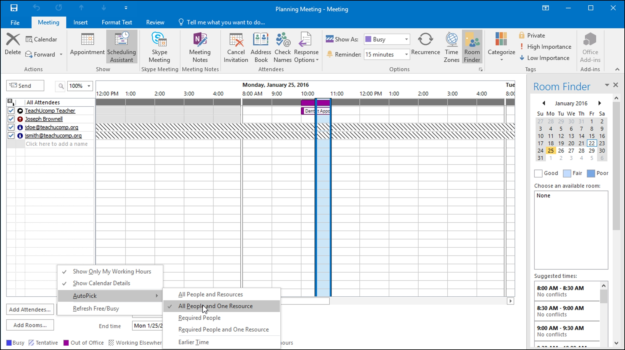 plan a meeting in outlook instructions and video lessons