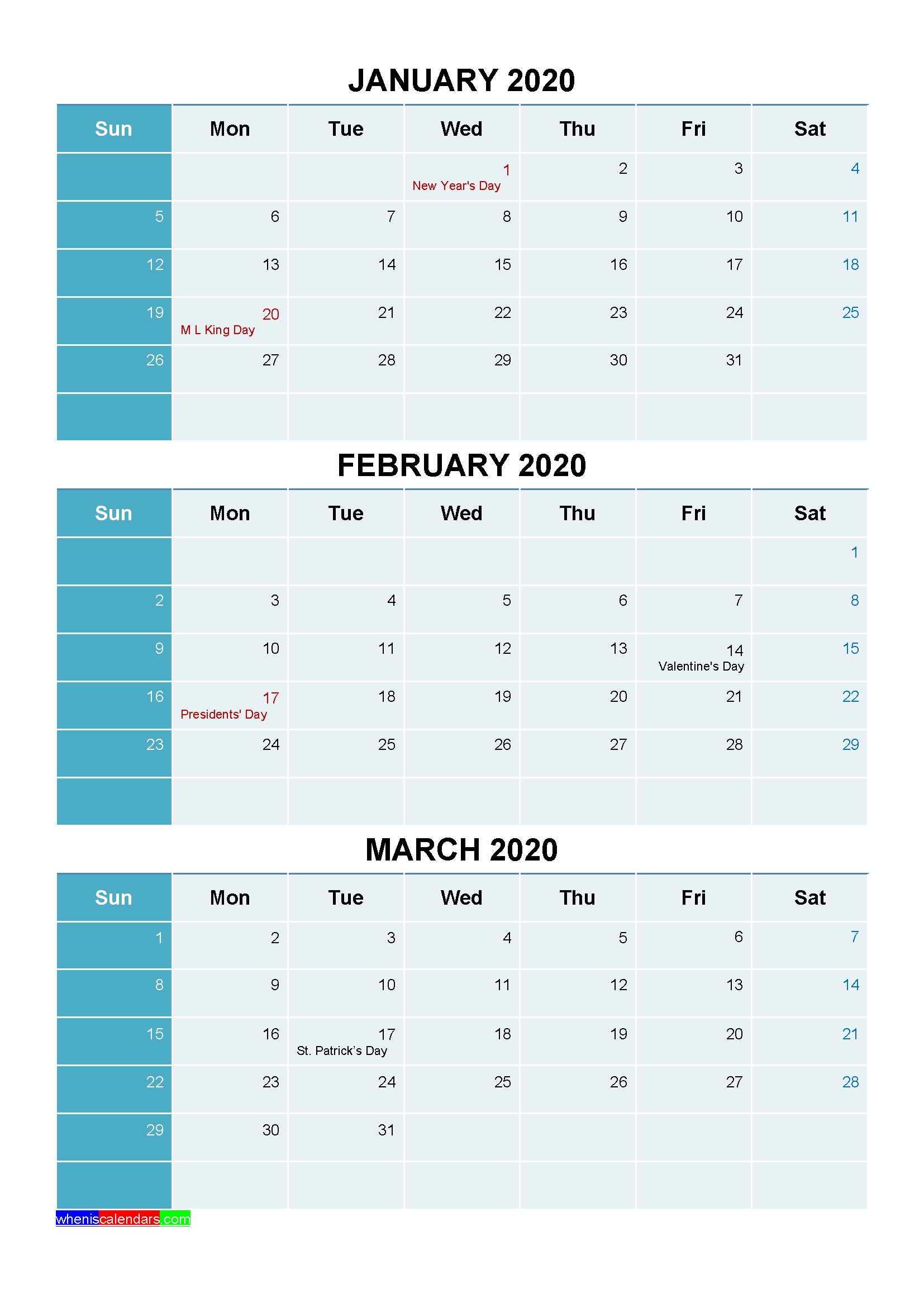 Plan For A Successful 2020 With Printable Calendar 2020 |