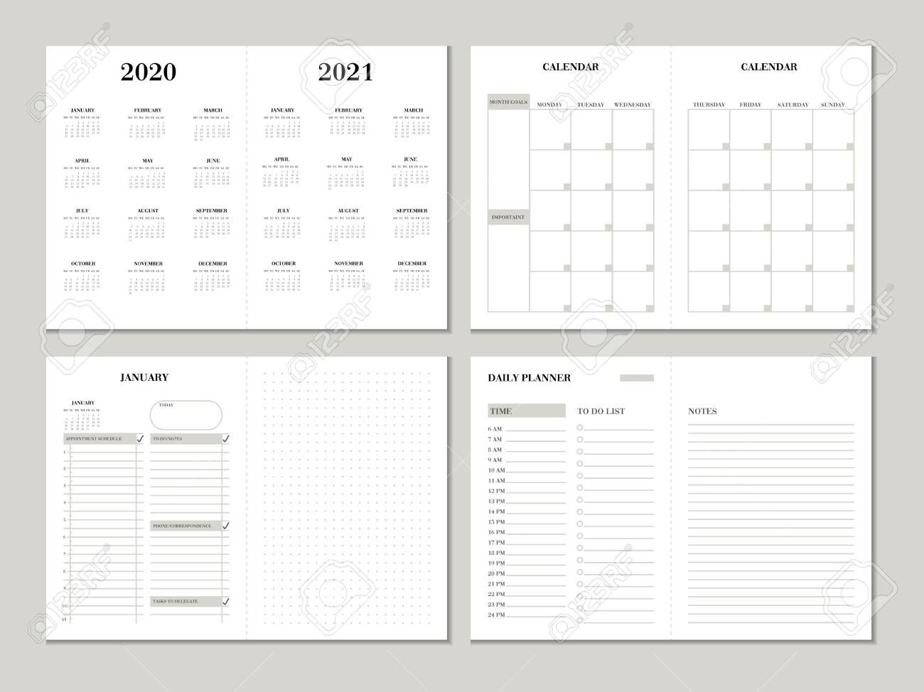 planner design template for 2020 2021 year weekly and monthly