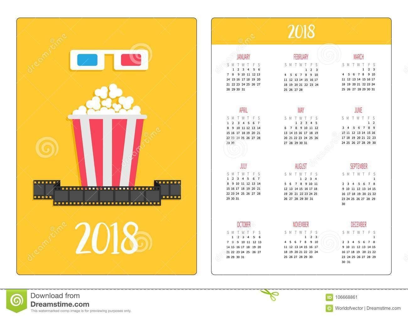 Pocket Calendar 2018 Year Week Starts Sunday 3d Paper Red