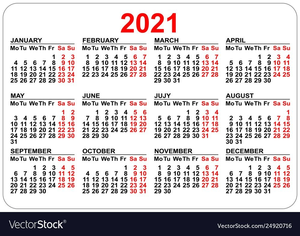 Pocket Calendar 2021 Grid Template Isolated On