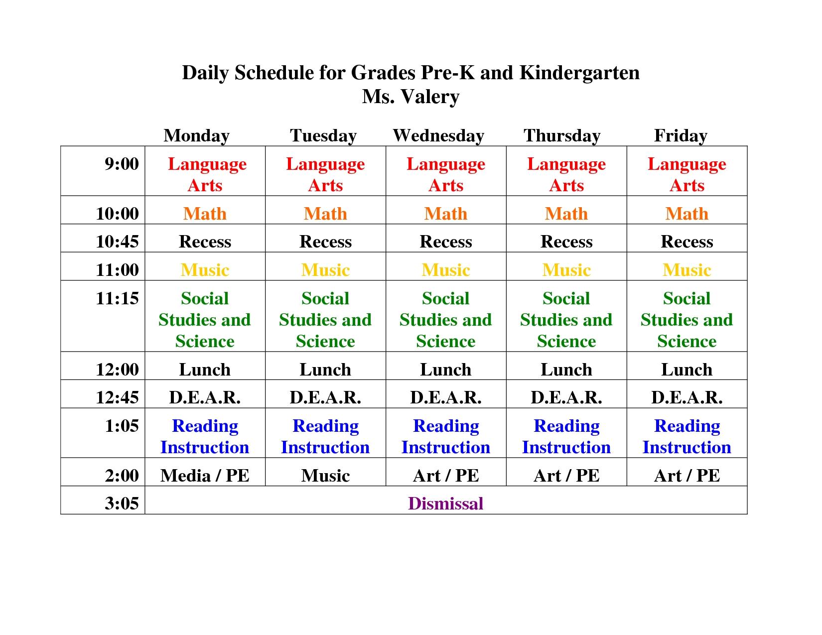 Pre K Daily Schedule Google Search | Kindergarten Daily