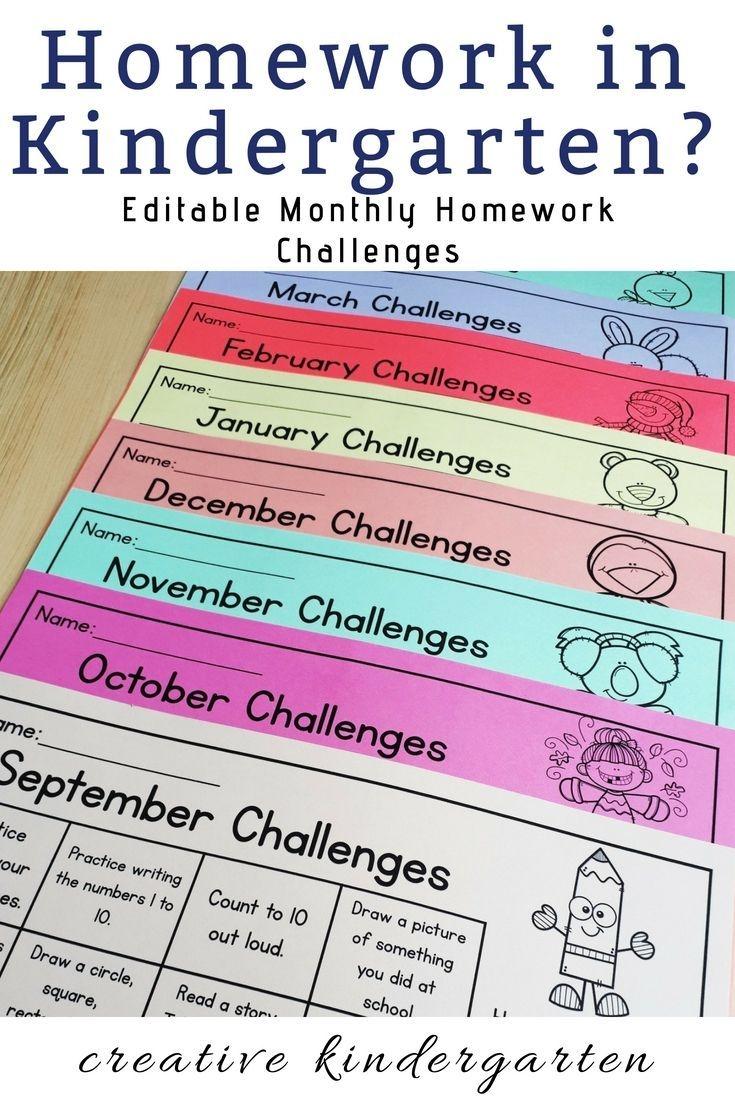 pre k monthly homework calendar in 2020   kindergarten