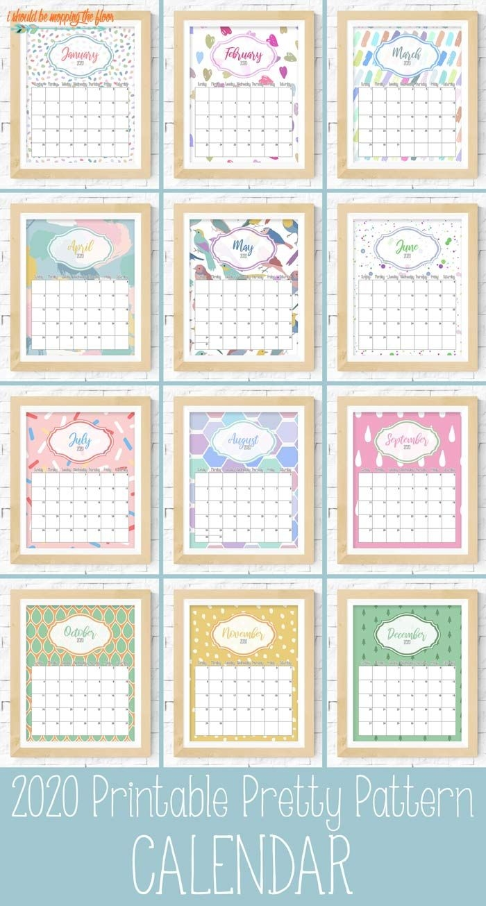 pretty pattern printable calendar 2020 | i should be mopping