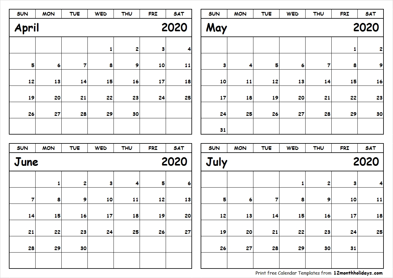 Print April To July 2020 Calendar Template | 4 Month Calendar