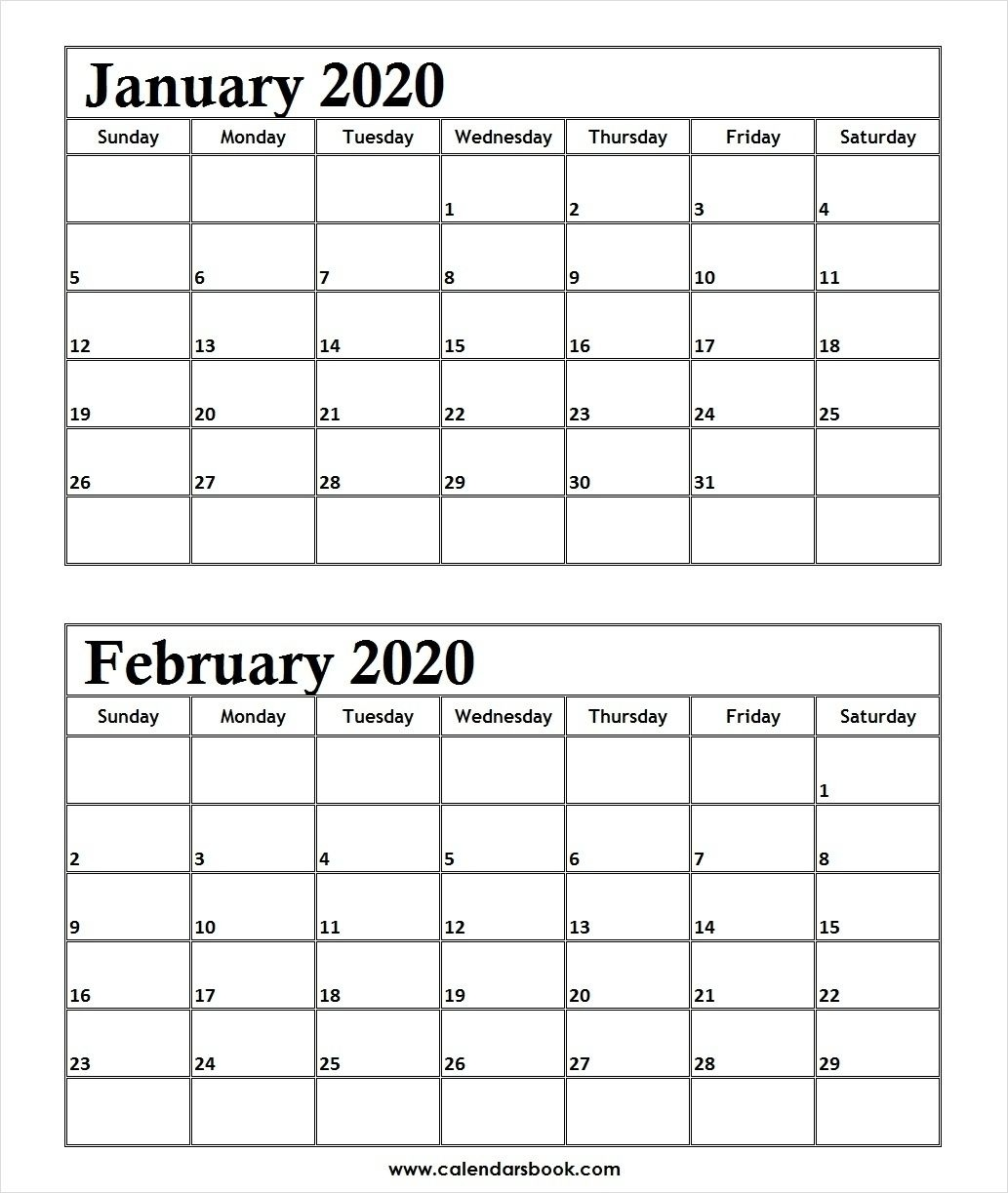 print january february 2020 calendar template | 2 month in 2
