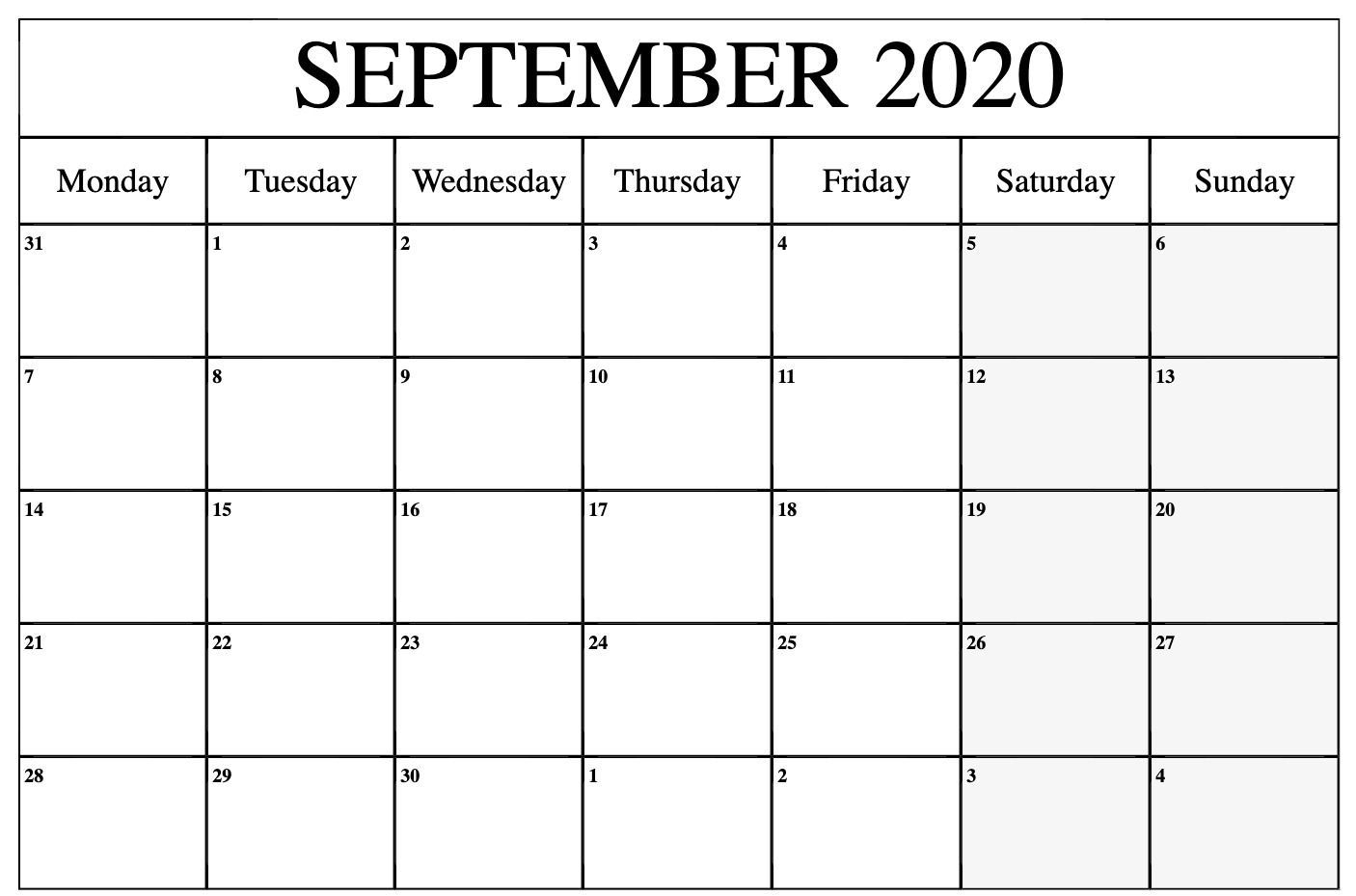 print september 2020 calendar to print | calendar printables