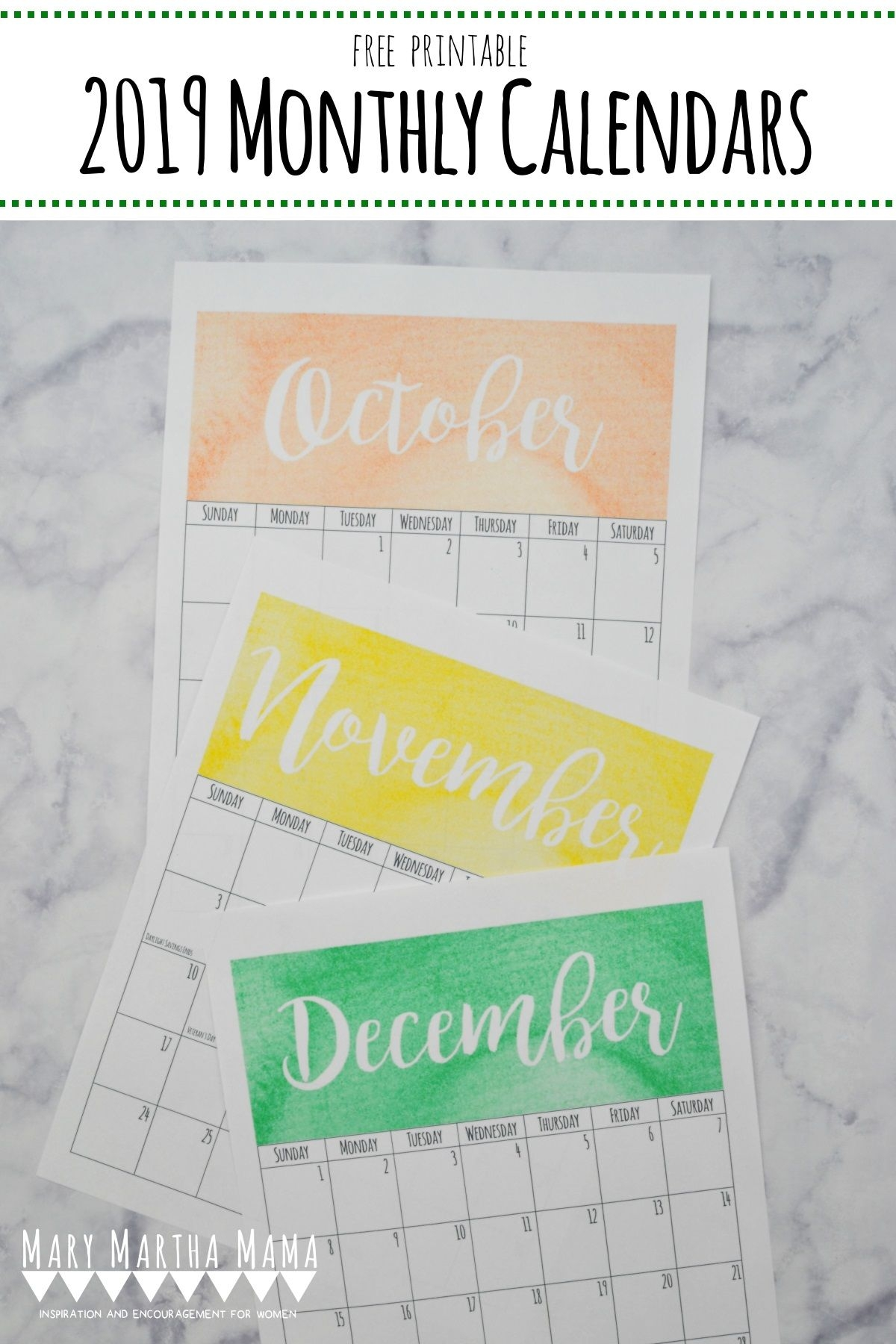 Printable 2019 Calendars To Get You Organized This Year