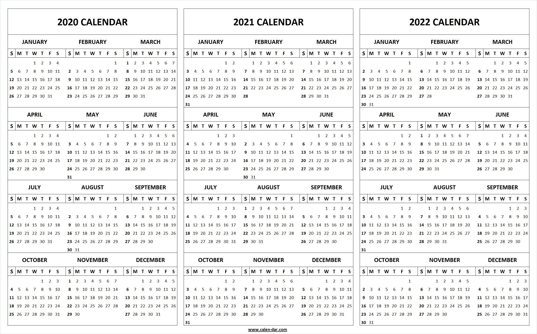 printable 2020 2021 2022 calendar template | 3 year editable