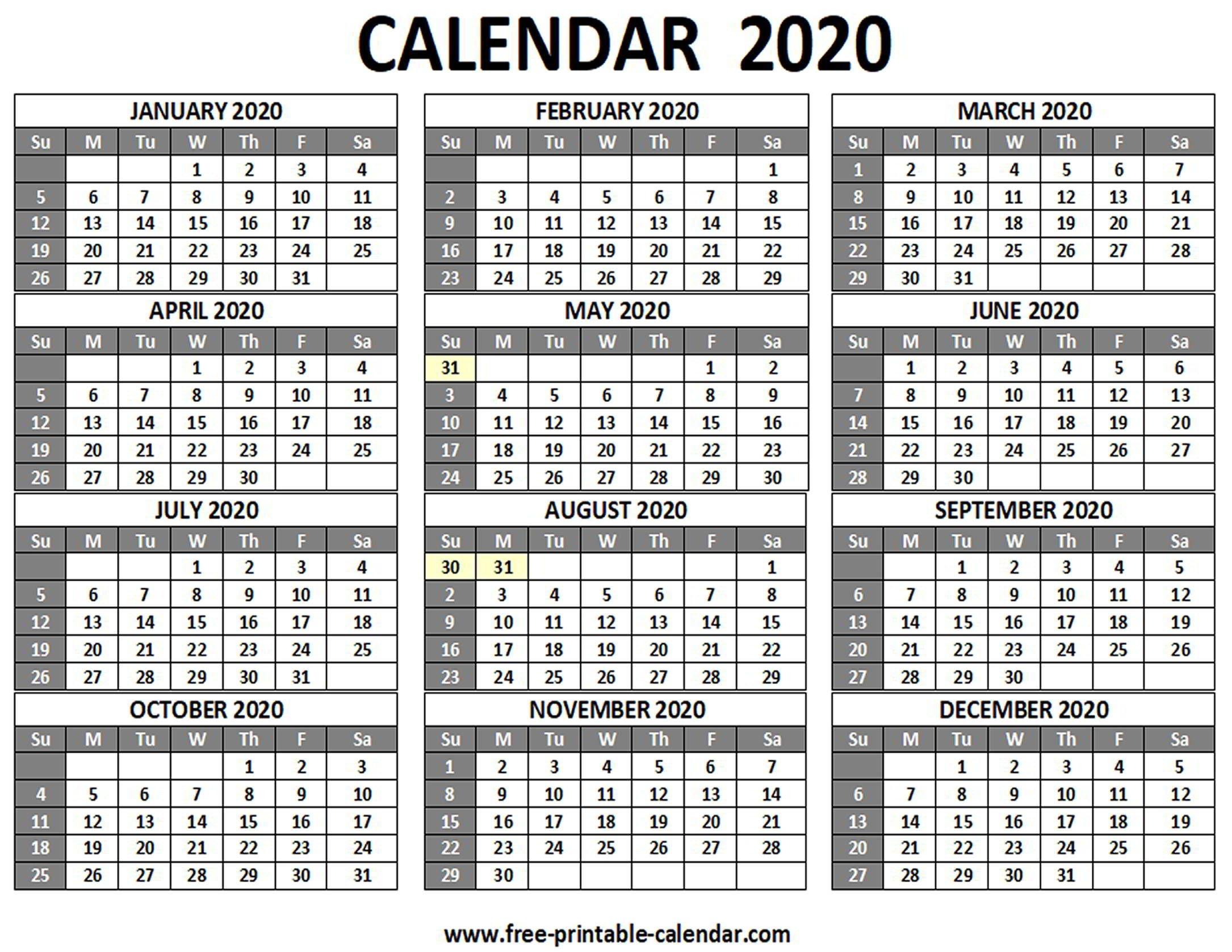 printable 2020 calendar free printable calendar