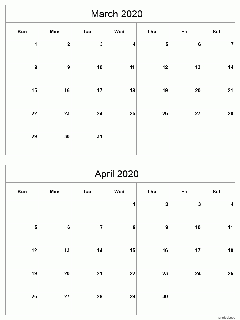 printable 2020 calendar two months per page | free