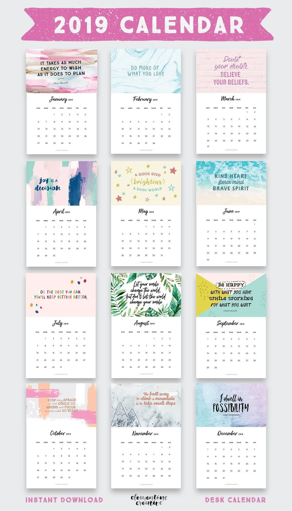 printable 2020 inspirational quotes calendar ( free bonus