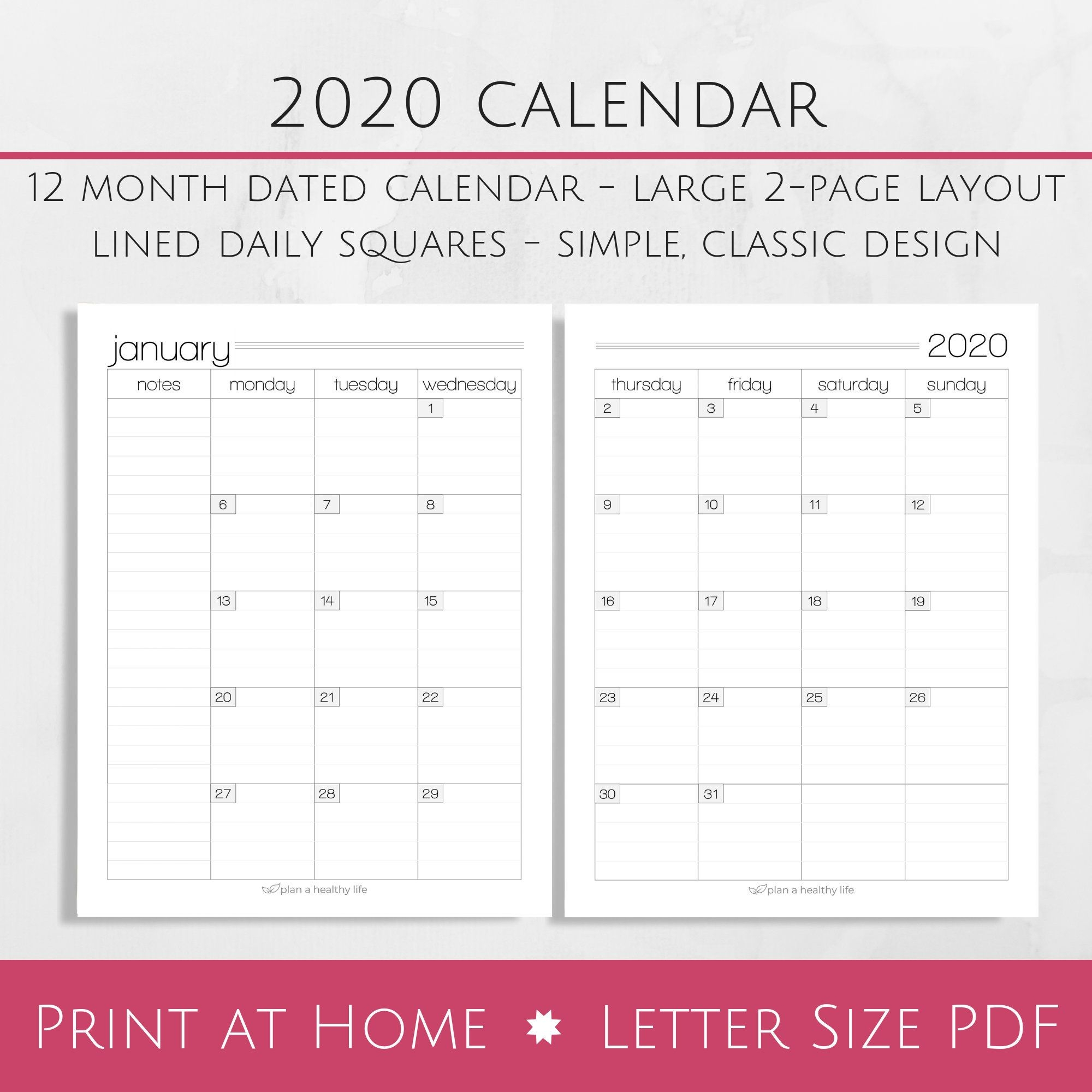 Printable 2020 Monthly Calendar 8 5×11 Letter Size Pdf 2020 Planner Insert Instant Download Planner Calendar
