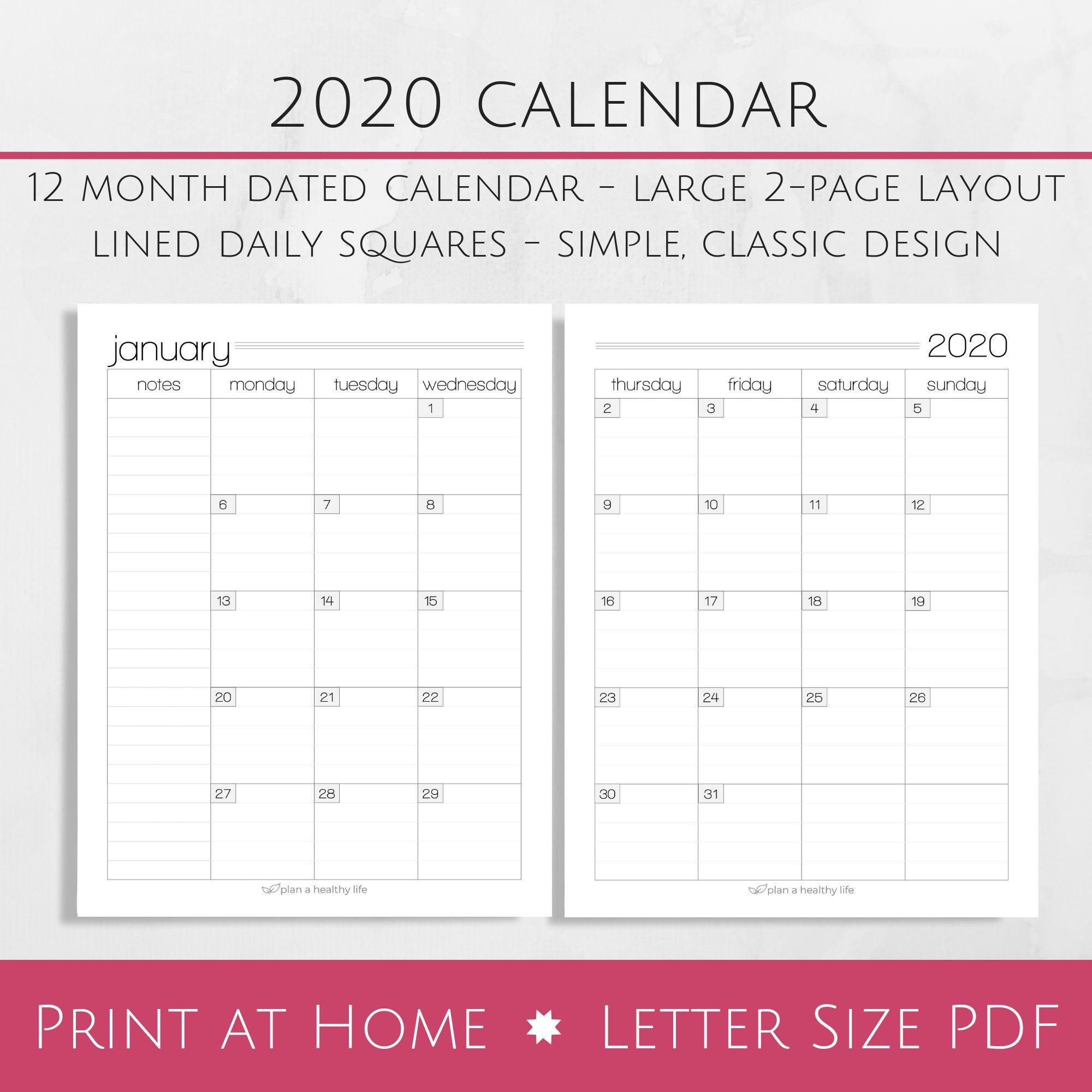 printable 2020 monthly calendar 8 5x11 letter size pdf 2020 planner insert instant download planner calendar