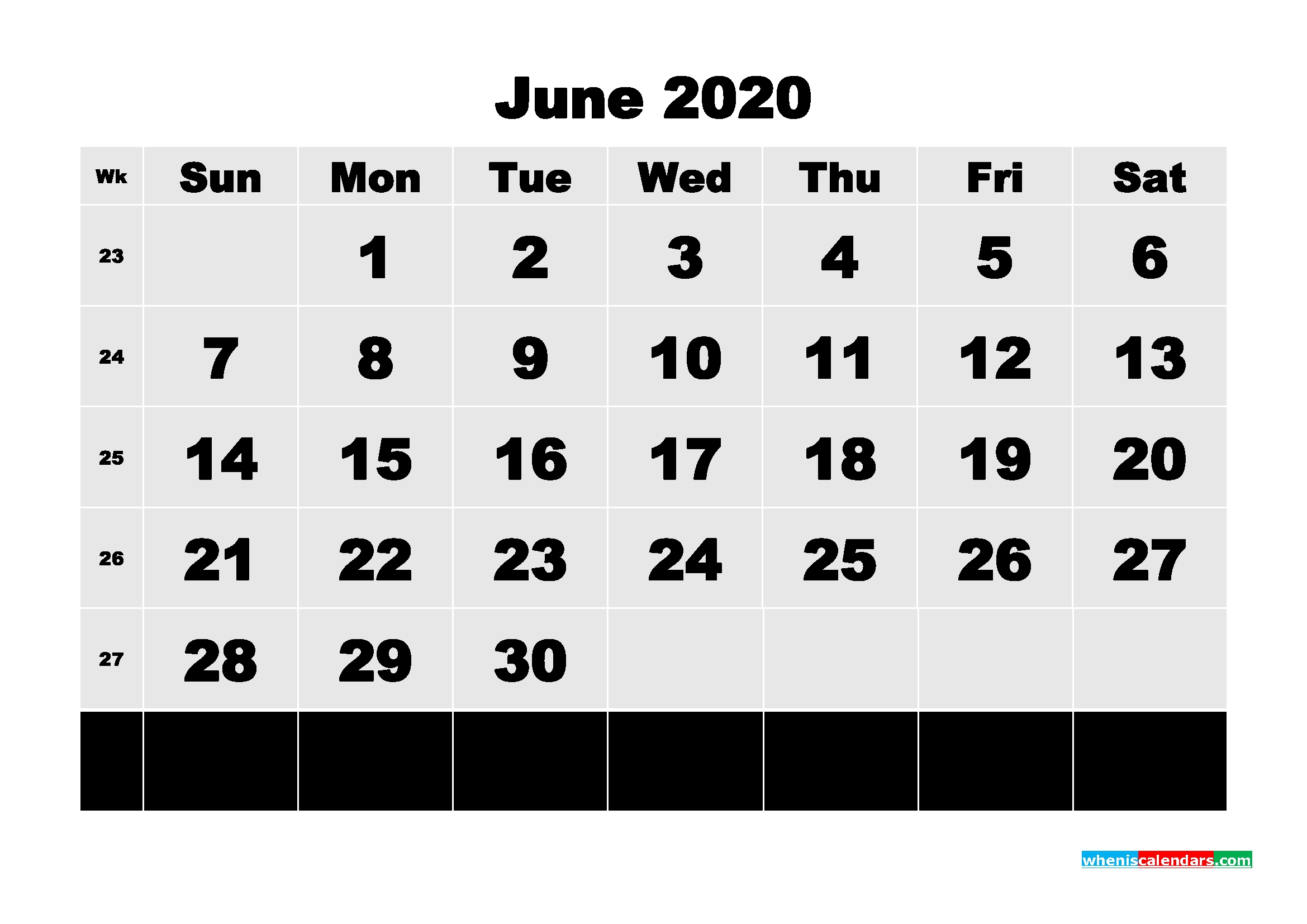 printable 2020 monthly calendar with week numbers june