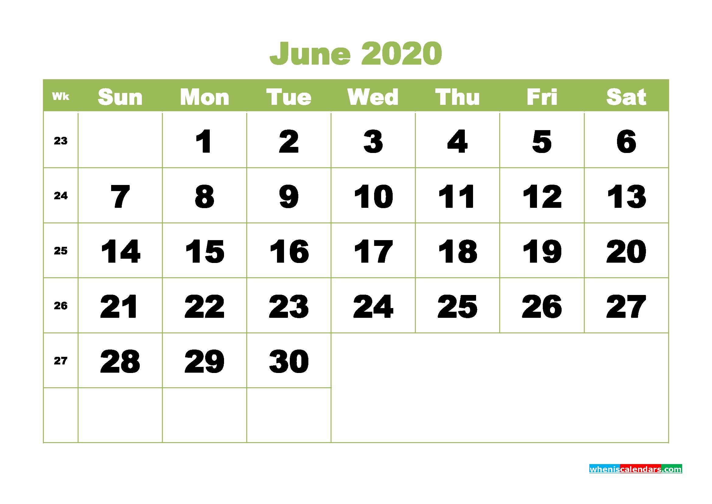 printable 2020 monthly calendar with week numbers june