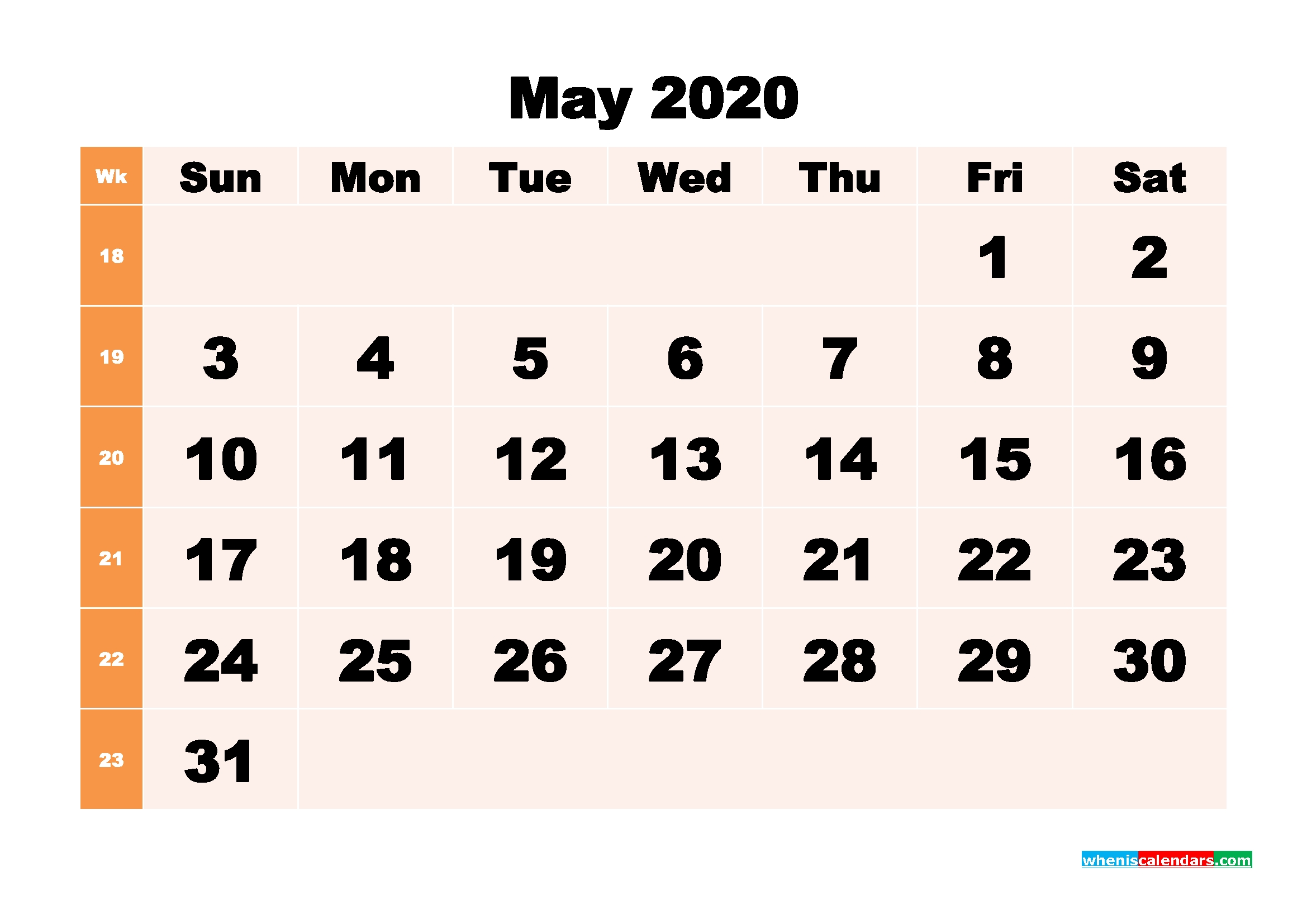 Printable 2020 Monthly Calendar With Week Numbers May   Free