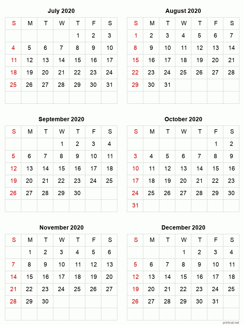 printable 2021 calendar six months per page | free